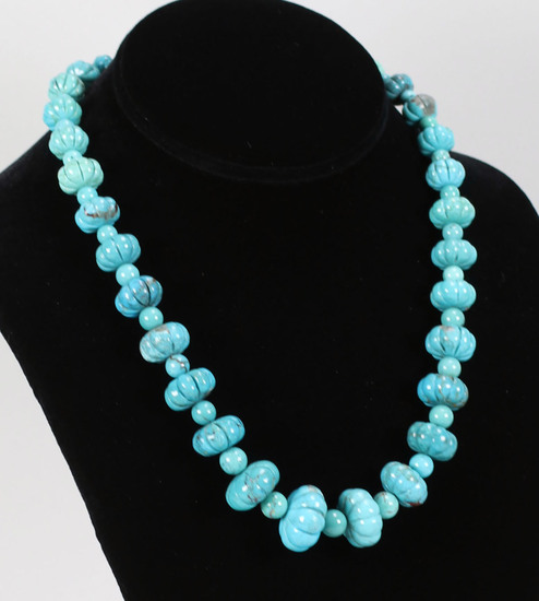 Beaded Polished Turquoise Necklace - Jay King