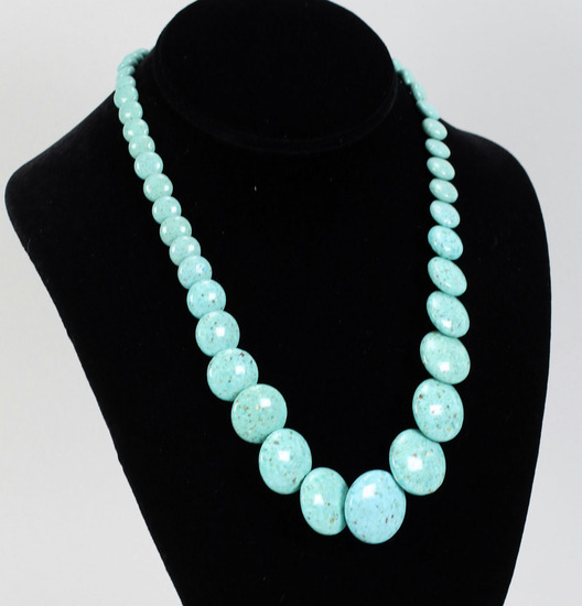 Turquoise Polished Disc Necklace