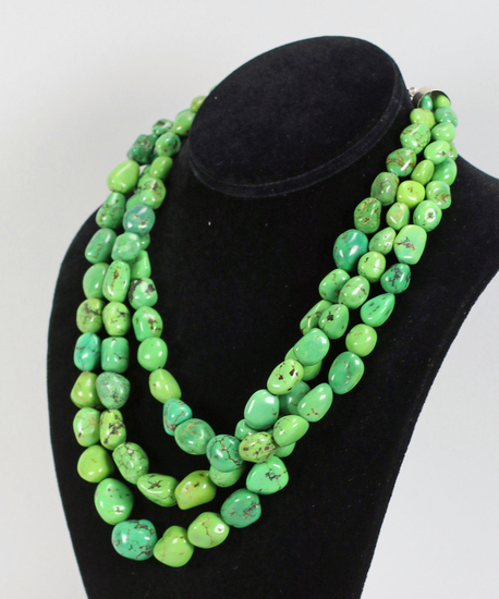 3 Tier Green Polished Stone Necklace - Jay King