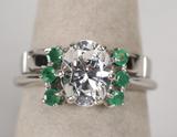 14k White Gold Gemstone Ring - Wedding Band, Sz. 6, 5.5 Grams