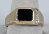 Men's 10k Ring, Black Stone w/ Diamond Accents, Sz. 11, 7.6 Grams