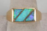 Men's 14k Gold Fire Opal Ring, Sz. 12, 9.8 Grams