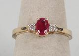 14k Diamond & Ruby Colored Stone Ring, Sz. 7, 2.4 Grams