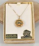 Alaskan Jade - Gold Nugget Pendant, 22k Gold w/ 14k Chain