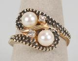 14k Gold Pearl & Diamond Ring, Sz. 7,  4.8 Grams