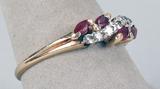 14k Gold Ruby & Diamond Ring, Sz. 9, 2.6 Grams