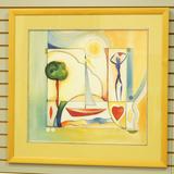 Beautiful Abstract Sail Boat Print, Illegible Signature