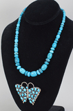 Turquoise Beaded Necklace & Butterfly Brooch - Pendant