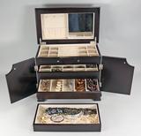 Jewelry Box w/ Costume Jewelry, Carved Bone Bracelet & More