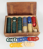 Old Poker Chips in Wooden Box