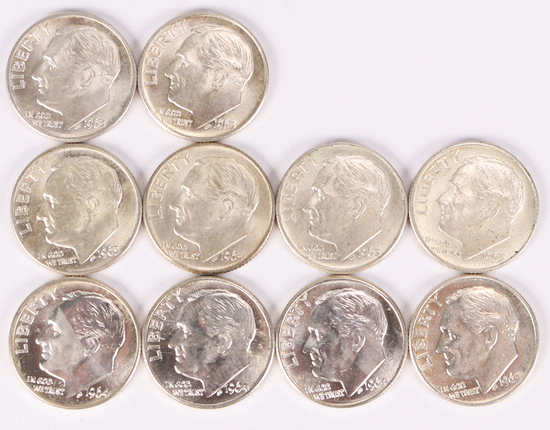 10 Roosevelt Silver Dimes; 7-1963-D & 3-1964-D