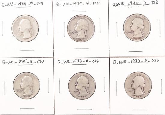 6 Washington Silver Quarters; 1934P,1935P,1935D,1935S,1936P,1936D