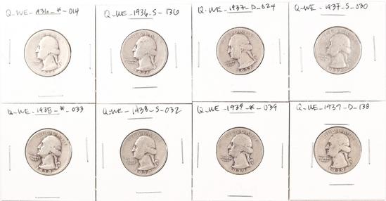 8 Washington Silver Quarters; 1936P,1936S,1937D,1937S,1938P,1938S,1939P,1939D