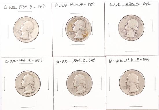 6 Washington Silver Quarters; 1939S,1940P,1940S,1941P,1941D,1941P