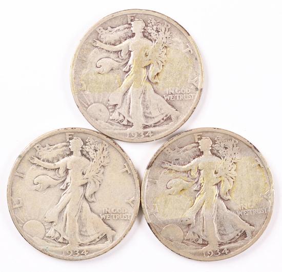 3 Walking Liberty Silver Half Dollars; 1934,1934-S,1934-D