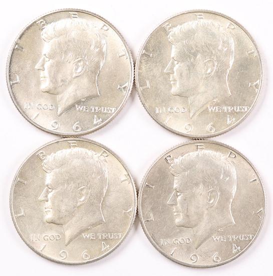 4 1964-D Kennedy Silver Half Dollars (90%)