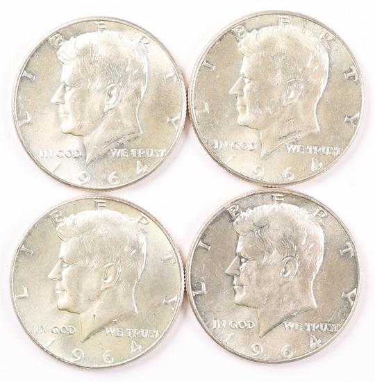 4 1964-P Kennedy Silver Half Dollars (90%)