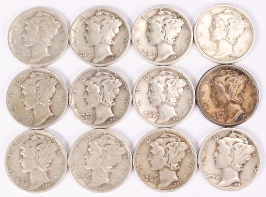12 Mercury Silver Dimes; 5-1940-D, 5-1941-P & 2-1941-D