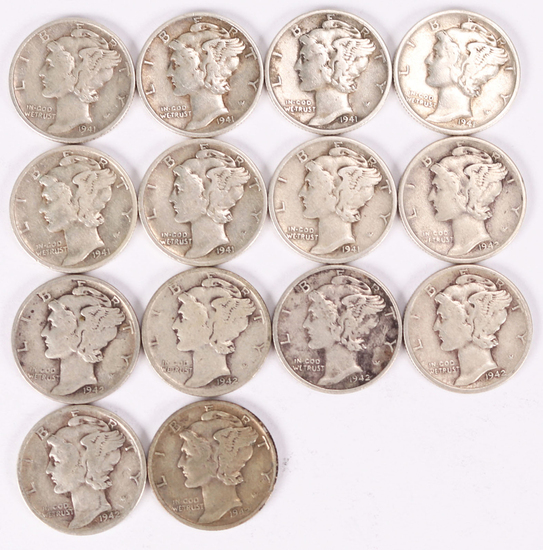 14 Mercury Silver Dimes; 7-1941-P & 7-1942-P