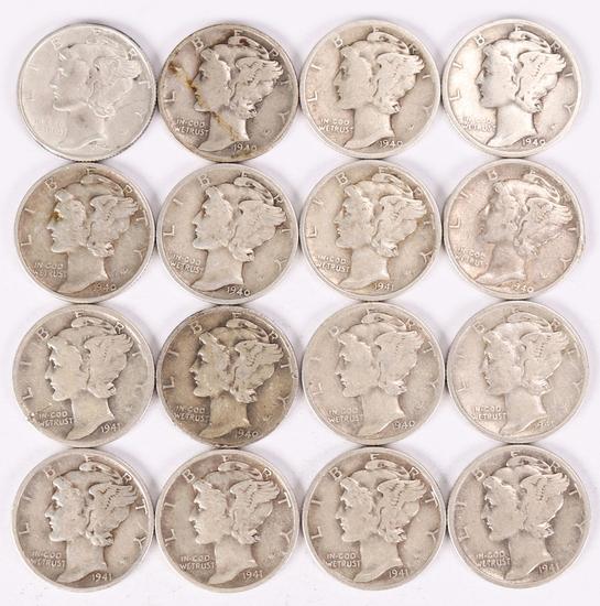 16 Mercury Silver Dimes; 1-1940-P, 7-1940-D, 7-1941-D & 1-1944-P