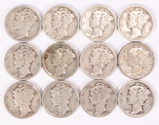 12 Mercury Silver Dimes; 2-1941-D & 2-1941-P & 8-1942-P