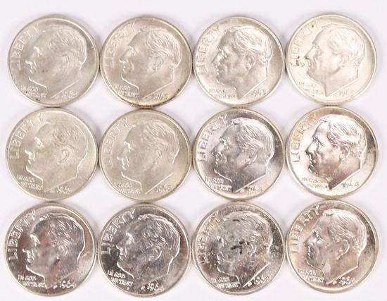12 Roosevelt Silver Dimes; 6-1963-D & 6-1964-D