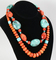 Southwest Style Turquoise & Coral Colored Stone Necklace