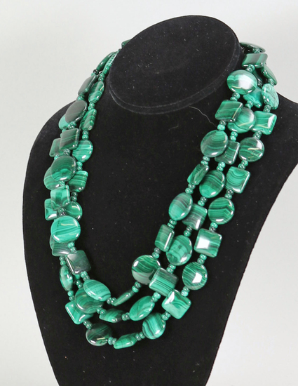 Multistrand Polished Green Stone Necklace