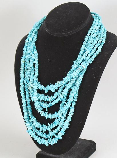 Multistrand Southwest Style Turquoise Necklace