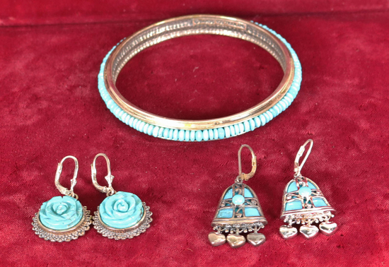 Turquoise Colored Stone & Silver Bracelet, Earrings