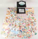 Collectible Stamps w/5X Folding Stamp Magnifier Loup