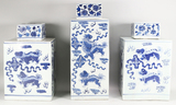 Three Chinese Blue and White Porcelain Lidded Jars
