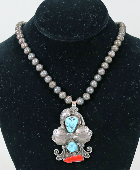 Southwest Silver Necklace w/ Turquoise & Coral Pendant