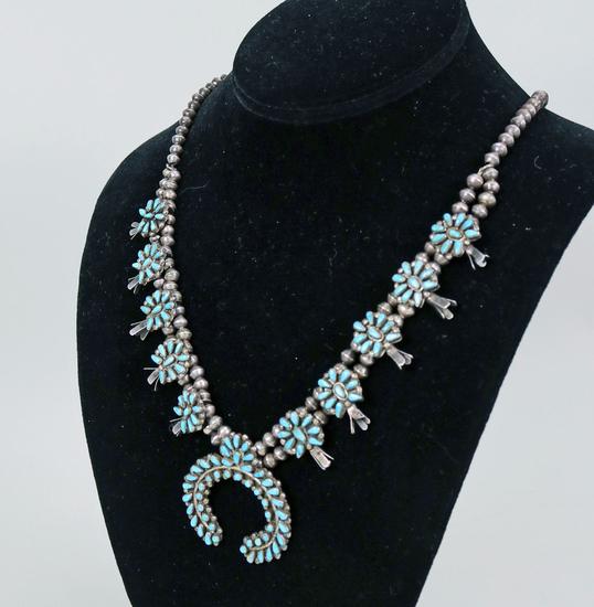 Southwest Silver & Turquoise Squash Blossom Necklace
