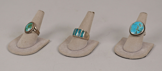 3 Turquoise Rings, Sz. 8, 8.5, 10.5