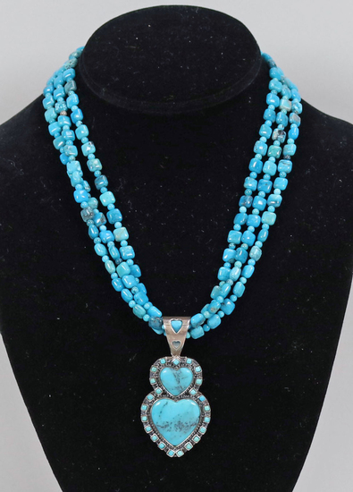 Multi-Strand Turquoise Necklace w/ Pendant