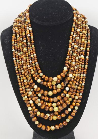 Polished Stone Beaded Multi-Strand Necklace