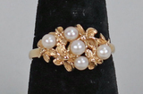 14k Gold Ring w/ Small Pearls, Sz. 8, 3.9 Grams