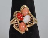 14k Gold Ring w/ Multi-Colored Stones, Sz. 8, 4.5 Grams