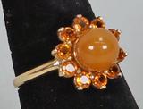 14k Amber Colored Ring, Sz. 8, 4.5 Grams