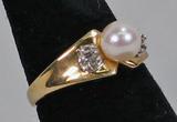 10k Gold Pearl Ring, Sz. 8.5, 3.4 Grams