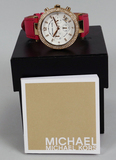 Michael Kors Ladies Chronograph - Date Watch w/ Pink Leather Strap