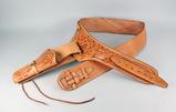 Tooled Leather Gun Belt - Holster, Sz. 36