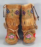 Beaded Leather High Top Moccasins