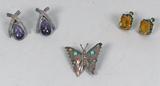 Sterling Silver Butterfly Brooch & Vintage Earrings