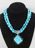Southwest Style Turquoise Necklace & Inlaid Pendant