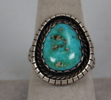 Southwest Sterling Turquoise Ring, Sz. 9
