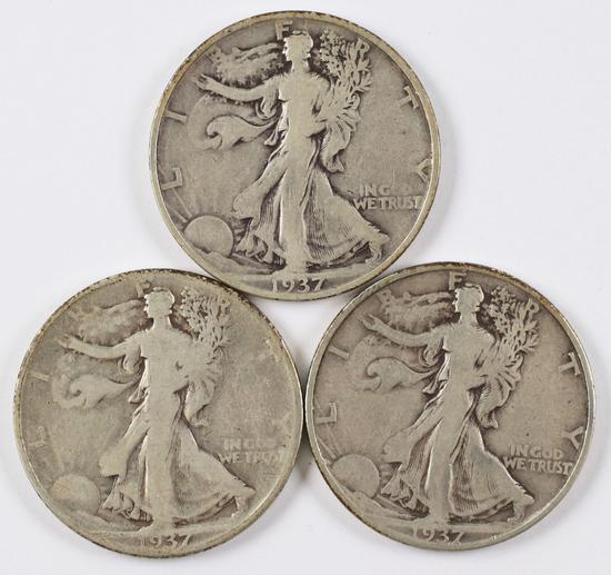 3 Walking Liberty Silver Half Dollars; 1937 P/D/S