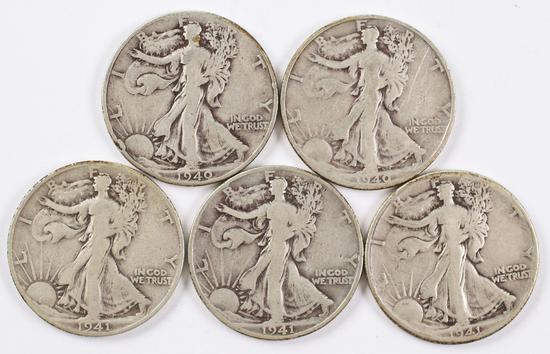 5 Walking Liberty Silver Half Dollars; 1940P,1940S,1941P,1941D,1941S