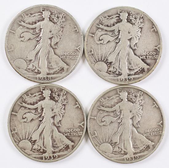 4 Walking Liberty Silver Half Dollars; 1938P,1939P,1939D,1939S